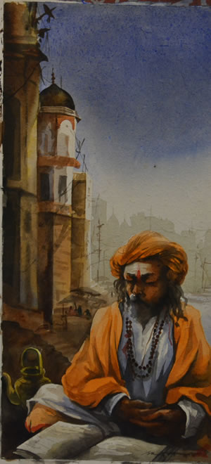 Artist: Sudip Roy<br> Title : Banaras<br> Medium: Water Colour on Paper<br> Size: 22 x 10 Inches