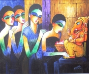 Artist: M.R.Hashkoti<br> Medium: Oil On canvas<br> Size:  33 x 33 Inches