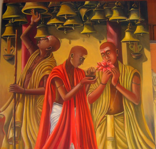 Artist: Praveen Upadhye<br> Title : Asharm boys<br> Medium: Oil on canvas<br> Size: 60 x 60 Inches