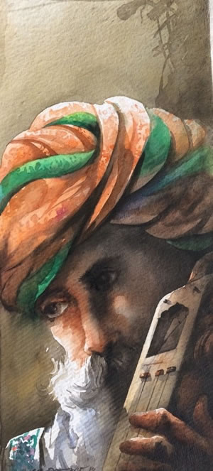 Artist: Sudip Roy<br> Title : Rajasthan boy<br> Medium: Water Colour on Paper<br> Size: 22 x 10 Inches