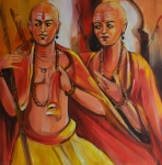 Artist: Praveen Upadhye<br> Titel : Dal Punj -<br> Medium: Acrylic on Canvas<br> Size: 30 x 30 Inches<br> Year : 2015