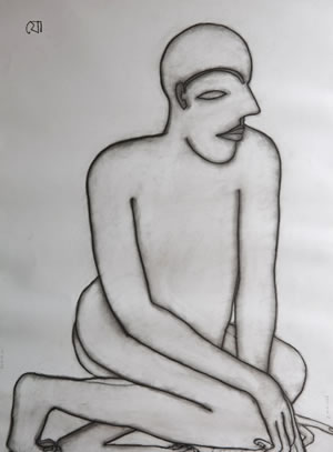 Artist: Jogen Choudhery<br> Medium: Charcoal On Paper<br> Size: 27.5 x 19.5 Inches