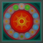 Artist: O. P. Sharma<br> Titel : Mandala of Bondage-i<br> Medium: Acrylic on Canvas<br> Size: 40 x 40 Inches