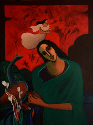 Artist: Jagadish Dey<br> Titel : Messenger Bird<br> Medium: Acrylic on Canvas<br> Size: 36 x 48 Inches