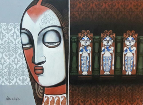 Artist: Kishore Roy<br> Titel : Untitled<br> Medium: Acrylic on Canvas<br> Size: 36 x 48 Inches