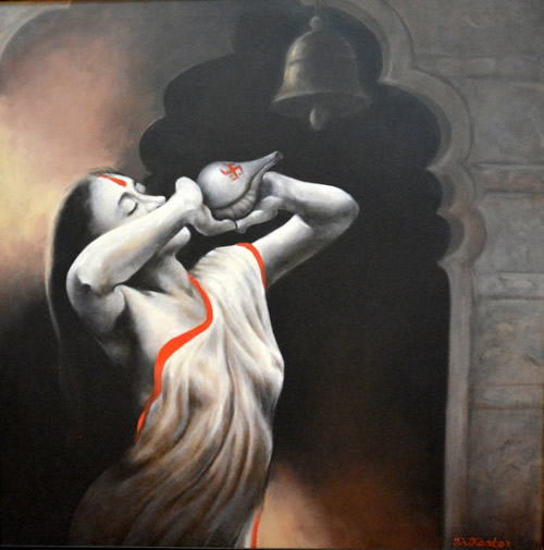Artist: Tirthankar Biswas<br> Titel : Untitled<br> Medium: Acrylic on Canvas<br> Size: 38 x 38 Inches