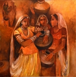 Artist: Annu Naik<br> Titel : Untitled<br> Medium: Oil on Canvas<br> Size: 32 x 32 Inches